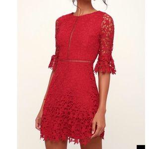 HP💃🌹❤️BB Dakota Red Lace Dress